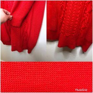J. Crew Dresses - J. Crew Cable Knit Turtleneck Sweater Dress Red XS